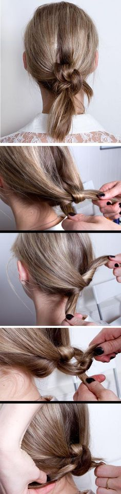 double knot ponytail Finally something I can do with my medium-length hair!!!
