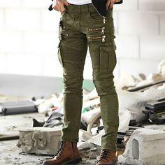 Привет   улица мужские байкер брюки карго джинсы известной марки дизайна нескольких молнии и карманы мужчины тянутся узкие Moto карандаш джинсы Q1690 купить на AliExpress