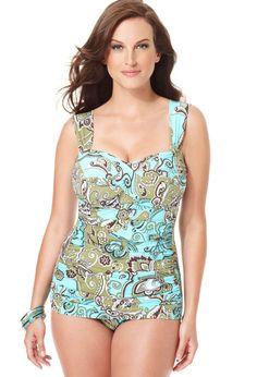 Plus Size Paisley Glam Swim Suit with Control | Plus Size One-Piece Swimsuits | Avenue ($59.99)    Cramie at Avenue