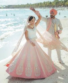 Colour Red has always been ruling the Bridal Lehenga Trend.Here are glimpses of Beautiful Bridal Lehengas that having nothing to do with the Bridal Red . Indian Beach Wedding, Indian Bridal Wear, Indian Wear, Indian Attire, Indian Weddings, Indian Dresses, Indian Outfits, Indian Clothes, Desi Clothes