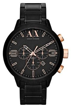 AX Armani Exchange Round Chronograph Bracelet Watch at Nordstrom.com. A smart, aviation-inspired dial tops a sleek chronograph watch set on a brushed steel bracelet.