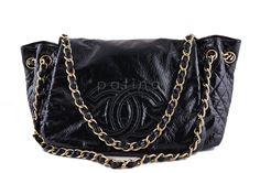 Chanel Black Jumbo Patent Rock & Chain Flap Bag