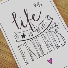 Dag 17 ✔️van de #dutchlettering challenge van @marijketekent @dutchlettering #lifeisbetterwithfriends #friends #true #handlettering #lettering #handwritten #quote #qotd #instaquote Calligraphy Quotes Doodles, Calligraphy Drawing, Hand Lettering Quotes, Creative Lettering, Calligraphy Letters, Bullet Journal Quotes, Bullet Journal Inspiration, Drawing Quotes, Art Quotes
