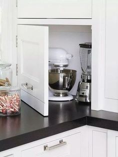 Conceal Cumbersome Contraptions--Tired of bulky kitchen appliances crowding your countertops? Stow away toasters, blenders, mixers, and more behind an inconspicuous cabinet panel. The appliance garage Kitchen Ikea, Kitchen Redo, Kitchen Pantry, New Kitchen, Kitchen Dining, Kitchen Corner, Kitchen Small, Corner Cupboard, Country Kitchen