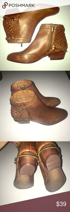 Sam Edelman Boots Perfect for fall! Peloved but wee maintained. Size 8m  Supercool metal accent on each heel. True brown( in my opinion) Sam Edelman Shoes Ankle Boots & Booties
