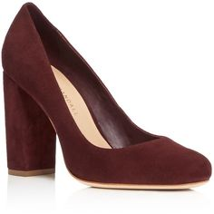 Loeffler Randall Sydnee High Heel Pumps (425 CAD) ❤ liked on Polyvore featuring shoes, pumps, bordeaux, leather footwear, real leather shoes, loeffler randall shoes, genuine leather shoes and leather shoes