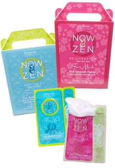 NOW & ZEN 30-DAY TAKE-OUT SPA FACE MASK ~ Inspired by the world's best ingredients and an Eastern flair for natural, ageless beauty, Perfectly Posh brings you the NEW FACE of pampering: a luxurious and naturally indulgent spa-grade treatment regimen for face and neck.  Pkg:  6 masks The Smooth Pansy (rejuvenating) or  Pkg:  6 masks The Brilliant Lotus (anti-aging)...  $39 each.