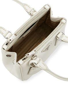 67b49234a2 V2SK6 Prada Saffiano Lux Micro Tote Bag w Shoulder Strap