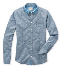 Q1 Hemd SANDRO in Mininmaldruck in Hellblau/Weiß auf grauem Fond in 100% Baumwolle Slim Fit, Shirt Dress, Mens Tops, Shirts, Shopping, Dresses, Fashion, Light Blue, Grey