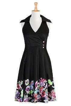 Floral hem stretch cotton dress- love the details.