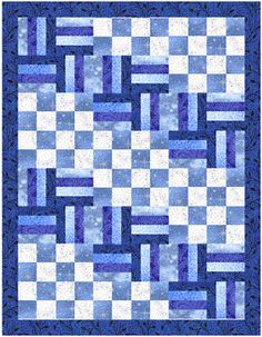 Blue Winter --  combined Rail Fence Blocks and Checked Blocks.  Good for beginners.  Tutorial.