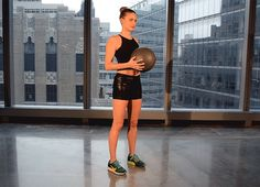 Stand holding the medicine ball at your chest. Take a big step back with your right foot, bending both knees until your left thigh is parallel to the ground. Lower the medicine ball and pass it under your left leg, starting at the center of your body and moving toward the outside of your left leg. Return to standing and immediately repeat with your opposite leg, alternating sides with each rep.