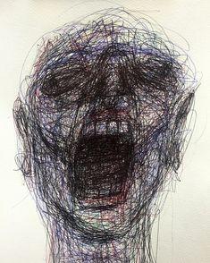 Naji Chalhoub a. Arte Horror, Horror Art, Schizophrenia Art, Mental Health Art, Depression Art, Dark Drawings, Art Brut, A Level Art, Creepy Art