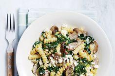 Silky Mushroom and Feta Fusilli ~ Canadian Living Side Recipes, Veggie Recipes, Lunch Recipes, Vegetarian Recipes, Dinner Recipes, Delicious Recipes, Tasty, Yummy Food, Kitchens
