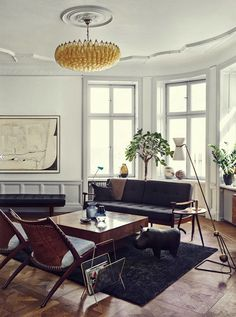 Etc Inspiration Blog Gorgeous Mid Century Modern Stockholm Apartment Stylist Joanna Lavén Via Design Milk - mid century modern living room