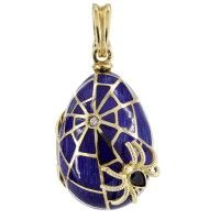 Victor Mayer Faberge 18K Yellow Vintage Blue Enamel Diamond Spider Web Egg Locket With Dangling Spider Limited Edition 1/300
