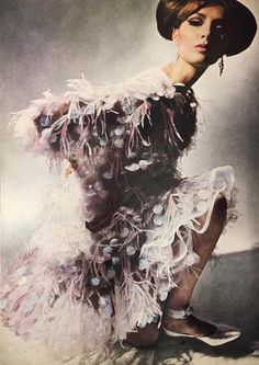 Model in Oscar de la Renta for Elizabeth Arden, photo by James Moore in Harper's Bazaar December 1964