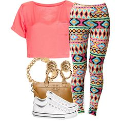 A fashion look from July 2013 featuring pink t shirt, aztec leggings and white shoes. Browse and shop related looks. Outfits With Converse, Dope Outfits, Swag Outfits, Outfits For Teens, Casual Outfits, Chill Outfits, White Converse, Converse Shoes, Cute Fashion
