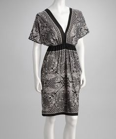 Just Love Black Paisley Dolman Dress by Just Love #zulily #zulilyfinds