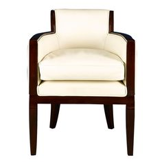 White Leather Art Deco Armchair | From a unique collection of antique and modern armchairs at http://www.1stdibs.com/furniture/seating/armchairs/