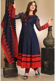 Navy Blue Art Silk Readymade Plus Size Salwar Kameez -GIBZ65379