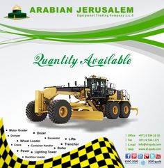 People who love Heavy Equipment visit our website for updated stock for popular brands Heavy Equipment:  Visit us at: www.al-quds.com  You can also follow us on Twitter, Pinterst, Google+ https://twitter.com/AJEquipmentTrd http://www.pinterest.com/ajcequipment/ https://plus.google.com/b/111342302185507679611/111342302185507679611/posts