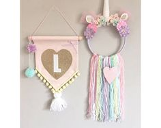 Handmade Unicorn Dreamcatcher made using a hoop, tassels measure between long. Initial Pennant Flag - pop a note on your order with your required Initial. Saving when ordered as a set :)Personalised Unicorn Dreamcatcher with added webbing/Nursery dec Unicorn Bedroom Decor, Unicorn Rooms, Unicorn Decor, Unicorn Wall, Little Girl Bedrooms, Girls Bedroom, Trendy Bedroom, Diy Bedroom, Unicorn Birthday