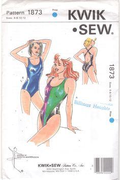 Kwik Sew 187s  1980s Misses One Piece Swimsuit High Cut Leg Pattern by mbchills