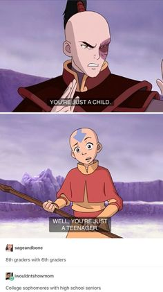 This is so true. Aang is technically much older then Zuko, which is funny to me. Avatar The Last Airbender Funny, The Last Avatar, Avatar Funny, Avatar Airbender, Atla Memes, Avatar Series, Team Avatar, Fire Nation, Zuko