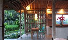 Entire home/apt in Ubud, Indonesia. Flora Natural Villa 1 is in a preserved rice paddy in Penestanan. Our joglo, yr reclaimed teak) is designed to be in touch in nature. Ubud, Tiny House, Communal Kitchen, Bahay Kubo, Timber Architecture, Jungle House, Tropical Style, Indoor Outdoor Living, Yogyakarta