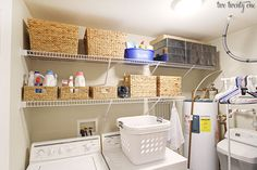 In case you missed it, I shared our laundry room makeover on Monday. Today I'm showing how I organized everything that's on the shelves. <p styl...