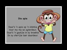 Die Apie - Kinderrympies in Afrikaans Preschool Learning, Preschool Activities, Kids Poems, Children Songs, Grade R Worksheets, Afrikaans Language, Afrikaanse Quotes, Kids Education, Child Development