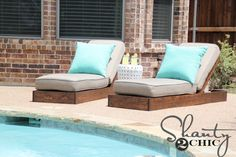 Hey there! Join us on Instagram and Pinterest to keep up with our most recent projects and sneak peeks! The rain has finally let up, down here in Texas, and I couldn't wait to get busy building this new set of lounge chairs, that I've been dreaming of, since we built our house! I had {...Read More...}