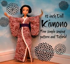 Beth Being Crafty: Printable Doll Kimono Pattern and Tutorial! Sewing Barbie Clothes, Barbie Sewing Patterns, Doll Patterns Free, Doll Dress Patterns, Easy Sewing Patterns, Sewing Dolls, Clothing Patterns, Pattern Sewing, Monster High Kleidung