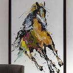 Art/Wall Decor - 'Running in the Wind' Abstract Wall Art - Neiman Marcus - horse wall art, framed horse wall art, abstract horse wall art, running horse wall art,