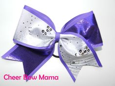 Purple & White Cheer Bow by Cheer Bow Mama