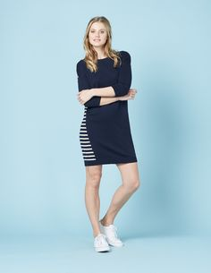 Boden Everyday Knitted Tunic Dress Navy/Ivory Women Wear with tights or dare to bare, in a lightweight merino wool blend, this tunic can be styled to suit any season or occasion. Never ones to say no to a stripe, weve fallen head-over-heels. http://www.MightGet.com/january-2017-13/boden-everyday-knitted-tunic-dress-navy-ivory-women.asp