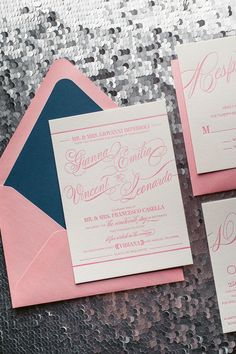GIANNA Suite // STYLED // Romantic Styled Package   Just Invite Me, This Way to Fabulous, Inc. Schaumburg, Illinois Wedding Invitations, letterpress wedding invitations, pink and navy wedding, formal wedding invitations, elegant wedding invitations, calligraphy wedding invitations, mixed font wedding invitations, http://justinviteme.com/collections/styled-collections/products/gianna-suite-styled-romantic-package