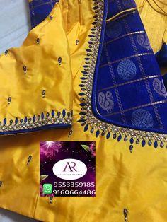No photo description available. Blouse Designs High Neck, Pattu Saree Blouse Designs, Simple Blouse Designs, Stylish Blouse Design, Fancy Blouse Designs, Bridal Blouse Designs, Sari Blouse, Mirror Work Blouse Design, Simple Embroidery Designs