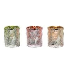 Glass Palm Tealight Trio