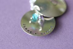 July 4th SALE - Wedding Locket Necklace - Handstamped Birthstone Crystals. $9.00, via Etsy.