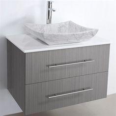 "Bianca 30"" Wall-Mounted Modern Bathroom Vanity - Grey Oak | Free Shipping"
