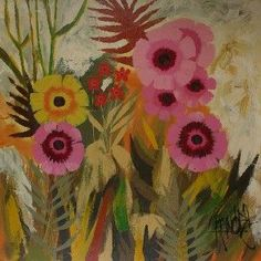 I have this original painting hanging in my kitchen...huge, vibrant, beautiful, this pic doesn't do it justice. Lee Burr,  Flower Painting