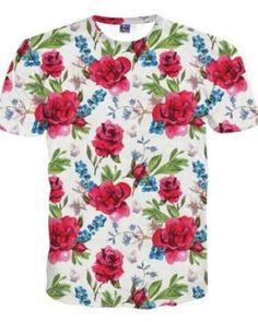 3D rose flower t shirt for men short sleeve Floral tshirts
