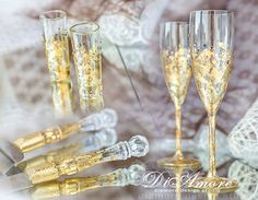 Gold & crystal wedding set, toasting flutes, set for cake, shot glasses, gatsby style, table setting from the collection art deco, 6pcs