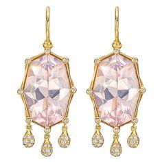 "Otto Jakob Pink Rock Crystal & Diamond ""Shashee"" Earrings   From a unique collection of vintage drop earrings at https://www.1stdibs.com/jewelry/earrings/drop-earrings/"