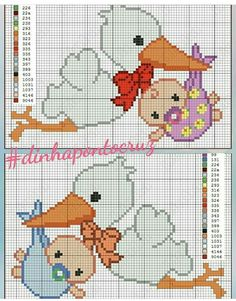 Cute Cross Stitch, Cross Stitch Charts, Cross Stitch Patterns, Sewing Patterns, Crochet Patterns, Fuse Beads, Baby Crafts, Baby Disney, Animal Design