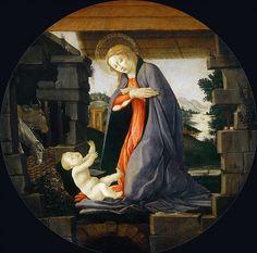 Мадонна, поклоняющаяся Младенцу Христу. Сандро Боттичелли