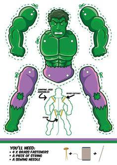 The incredible Hulk goes Jumping Jack - M. Gulin-The incredible Hulk goes Jumping Jack – M. Gulin The Incredible Hulk as a Jumping Jack. Another cool superhero puppet. Superhero Classroom, Superhero Party, Superhero Template, Paper Puppets, Paper Toys, Hulk Party, Hulk Birthday, Incredible Hulk, Jumping Jacks