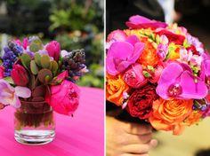 pink, orange, hot pink, orchids, tulips, ranaculus, fressia....love it!